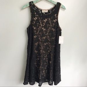 NEW Free People Black Lace Fit and Flare Dress